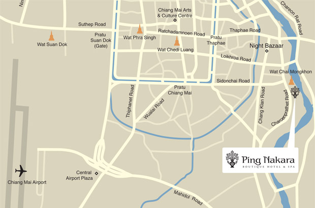 Map showing location of Ping Nakara Hotel and Nakara Spa, Chiang Mai