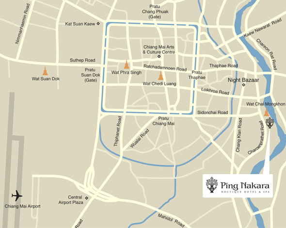 Map showing location of Ping Nakara Hotel, Chiang Mai